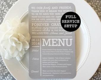 Wedding Menu and Thank You    Menu    Thank You   Wedding Menu Style 30 Soft Gray Collection