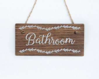Wooden Bathroom Sign. Bathroom Door Sign Rustic Bathroom