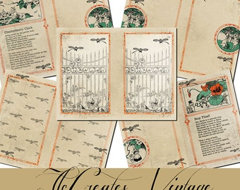Beyond the Garden Gate,  Printable Vintage Junk Journal Papers and Extras, Journal Cards, Envelopes