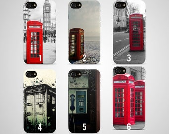 London telephone booth phone case iphone case 8 plus 7 X 6 6s 5 5s se s galaxy samsung case s8 s7 edge s6 s5 s9 note 4 cover gift box red