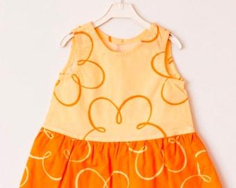 Orange cotton dress, Cotton Dress Flower Girl Summer Dress Rustic Wedding Cute dresses, Casual dresses,  Round Neck, Country Dress, Handmade