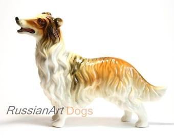 Collie, Sheltie dog figurine, ceramic statuette, handmade, statue