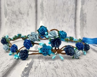 Blue hair garland, blue roses, hair wreath, royal blue flower crown, turquoise, blue rose crown, festival, bridal, something blue, headdress