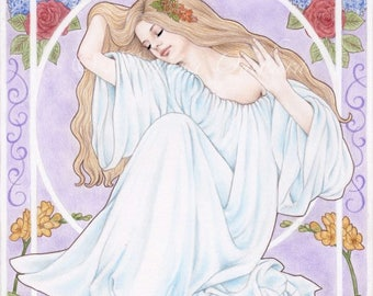Persephone - Open edition art print, colored pencil drawing, art nouveau, Greek mythology, goddess, flowers, spring