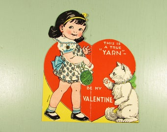 Mechanical Valentine Card - Vintage Girl Cat Kitten Yarn