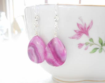 Pink Crazy Lace Agate Earrings, Fuchsia Stone Beaded Drop Earrings, Sterling Silver Dangle Earrings, Dyed Agate Jewelry, Gift for Her