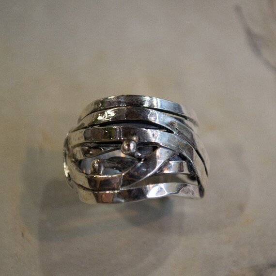 Wire Wrapped Ring Wide Silver Band boho ring hippie Ring