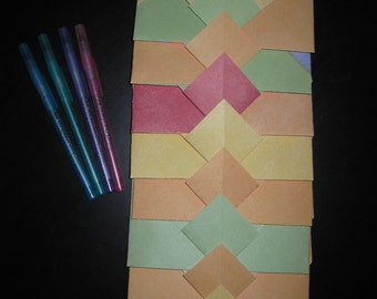 Colorblock Crayon Colors - 8 Decorative Folded Self-Closing Origami Paper Ephemera Envelopes Double Thick Single Sided 12x12 Scrapbook Paper