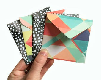 Set of 4 // Mini Square Envelopes // Mini Envelopes // Square Envelopes // Geometric Envelopes // Rainbow Stationery // Polka Dot Stationery