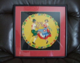 vintage cross stitch /  retro german / austria WOOL / Cross Stitch  Framed