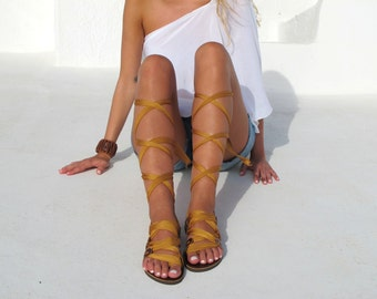 """Greek Gladiator sandals, Customizable Choose scarf laces from 20 colors and leather footbed from 6 colors  """"ATHENA"""""""