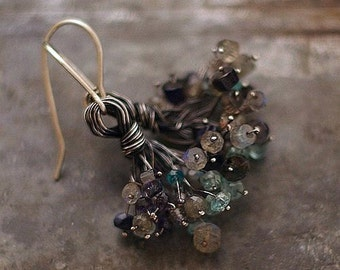 USE CODE - 15OFF • SALE 15% • labradorite flower earings • 925 sterling silver • cluster floral blue earrings • inspirational Gift for women