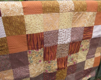 Shades of Brown Ivory Squares Mini Lap Quilt