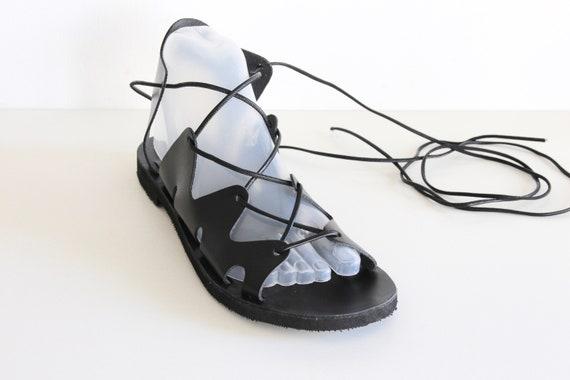 high GLADIATOR sandals SANDALS black leather KYMA knee up tie sandals zZfqcwxp
