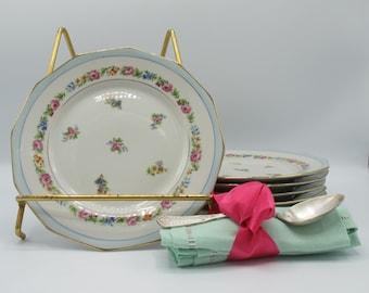 French vintage porcelain plates Limoges, set of 6 dessert plates, porcelain cake plates floral decor and golden borders