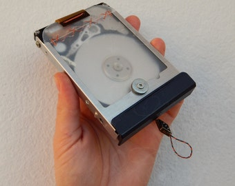 """OOAK Recycled/Upcycled hard disk into a pocket mirror """"JrG15-05"""" - Industrial style"""