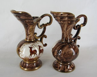 CLEARANCE Pair of vintage Belgium ewers H Bequet style with deer