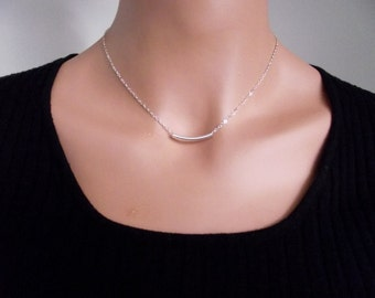Tube Silver  Necklace,   Sterling Silver necklace, Tube Jewelry  - Every Day Necklace,  Cute, Dainty, mother, mom, teen, Brithday gift