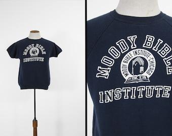 Vintage Moody Bible Sweatshirt Tee Blue Raglan College T-shirt - Medium
