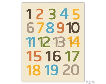 Modern Numbers wall art. Nursery art 123 poster. Children artwork for playroom 123 numbers print by WallFry