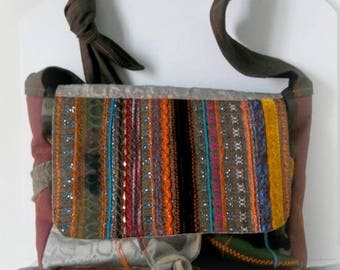 Messenger bag embroidered recycled fabric: embroidery, camouflage, Velvet / textile art / OOAK