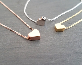 HEART Necklace, Rose gold, Gold, White Gold Necklace, Girlfriend Sister Daughter Friendship Valentine GIFT