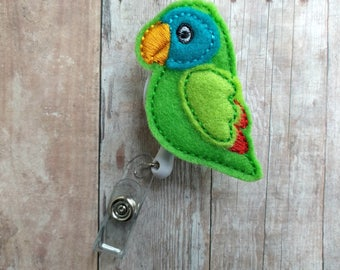 Parrot Badge Clip ID Holder, Green or Red Embroidered Wool Felt, Bird Badge Reel, Choice of Clip Styles, Tropical Parrot ID Holder