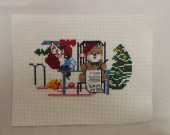 Finished Cross Stitch-Dear Santa Bear Letter-Unframed
