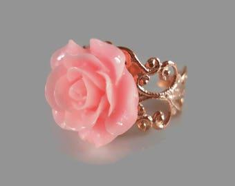 Pink Rose Ring Rose Jewelry Flower Ring Rose Gold Filigree Ring Adjustable Ring