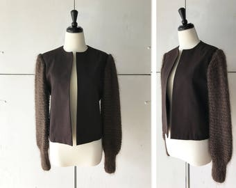 70s (M/L) womens brown knit sleeve blazer | vintage womens jacket | 1970s womens clothing