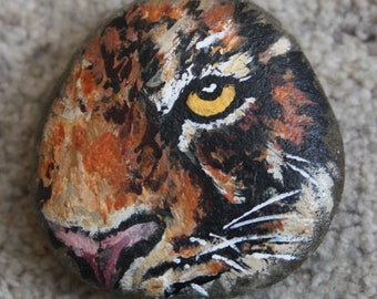 Handpainted Rock - Tiger (paperweight, stone)