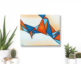 Geometric Abstract Art, Triangle Painting, Abstract Painting, Modern Wall Decor, Triangle Art, Modern Wall Decor