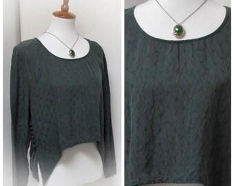 Vintage Green Silky Grunge Long Sleeve Blouse