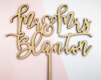 Personalized Mr & Mrs Cake Topper, Mr and Mrs Cake Topper, Wedding Cake Topper, Calligraphy Topper, Custom Wedding Topper, Wood Cake Topper
