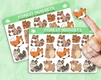 Kawaii Forest Nuggets Animal Sticker Sheets