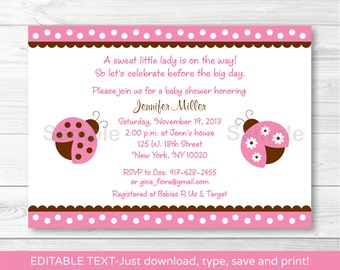 Cute Pink Ladybug Baby Shower Invitation / Ladybug Baby Shower Invite / Pink & Brown / Baby Girl Shower / INSTANT DOWNLOAD Editable PDF A217