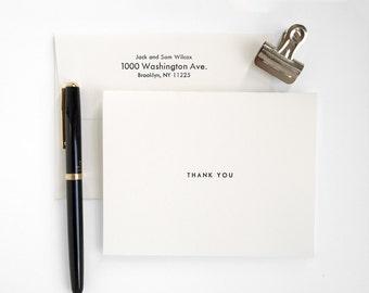 Letterpress Thank You Cards - Wedding or Birthday - Modern Folded Cards - UTILITY