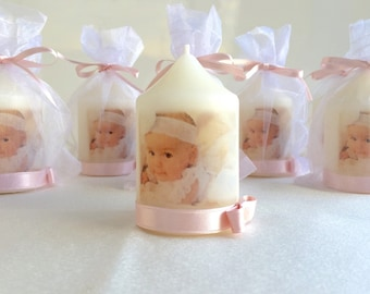 Baptism candle, Baptism favors, Christening favors, Personalized candles, Picture candles, Monogrammed candles, Party favors