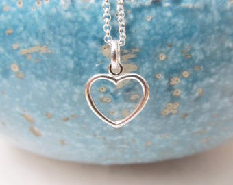 Sterling silver heart necklace, heart necklace, love necklace