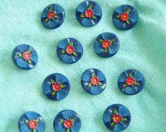 1940's Sweet Floral Hand Painted Buttons, One Dozen Vintage Buttons