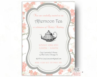 Printable tea party birthday invitation 5x7 vintage blue birthday tea party invitation tea party birthday invitation printable tea birthday party floral stopboris Images