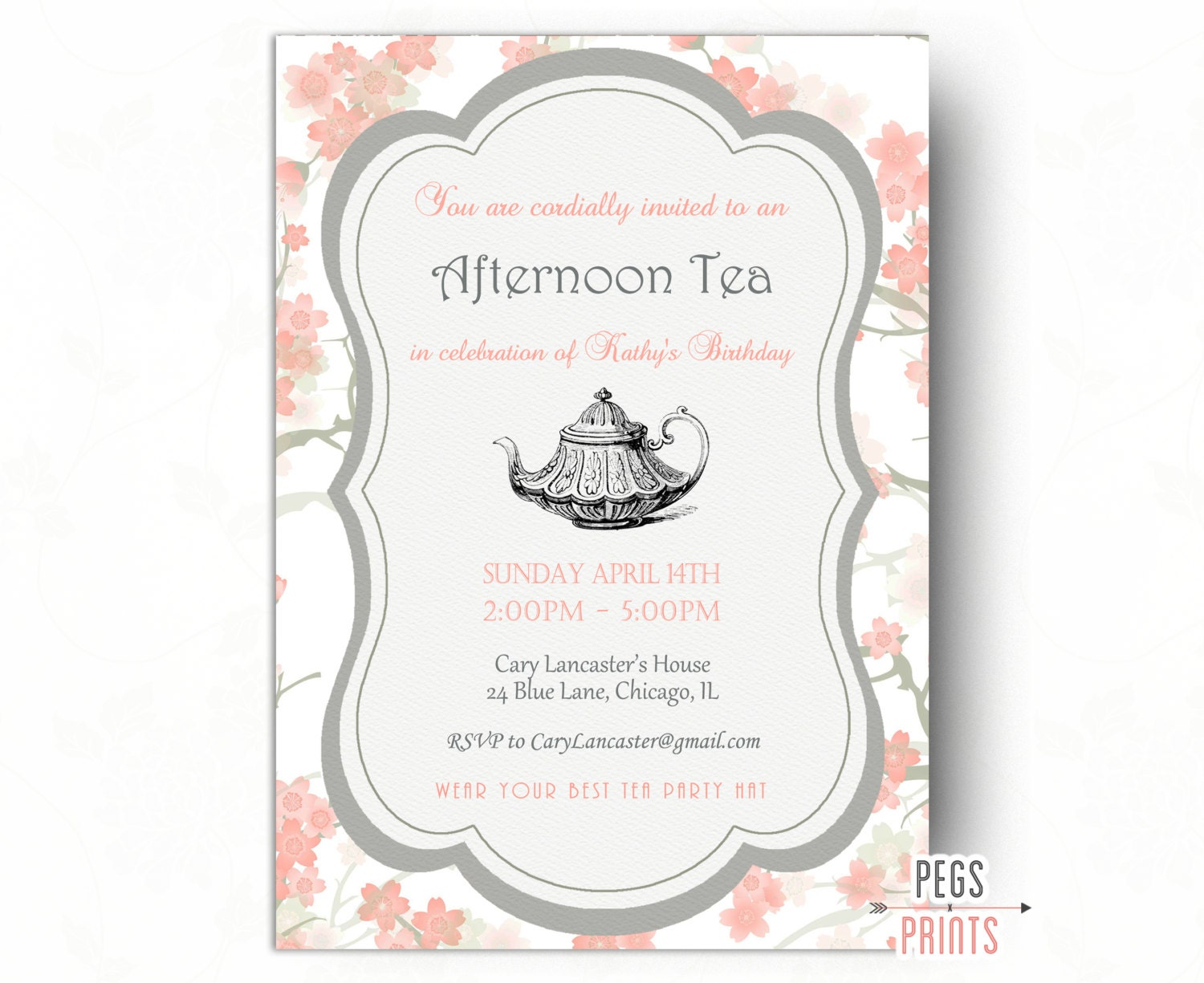 Birthday Tea Party Invitation Tea Party Birthday Invitation