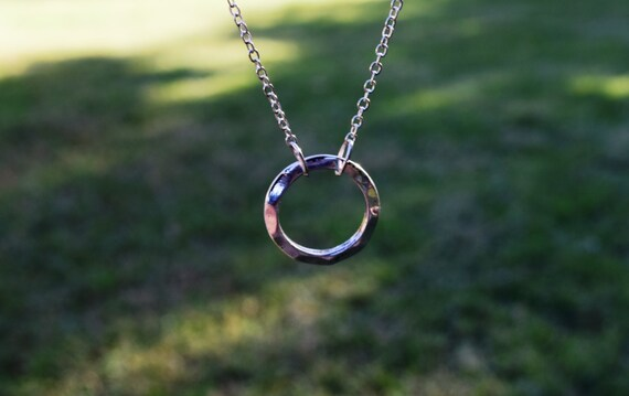 Hammered Circle Necklace, Silver or Bronze, Once Upon a Time Fairy Tale Circle Necklace, Emma Swan Necklace, Eternity Circle, Minimalist