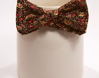 Red and Yellow Paisley Patterned Bow Tie