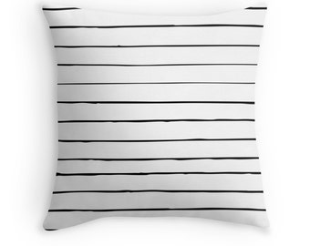 Pillow Cover White Black Skinny Stripes Minimalist Home Bed Room Dorm Decor Hipster 14x14 16x16 18x18 20x20 26x26