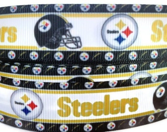 7/8 inch Grosgrain Pittsburgh Steelers, Sports Ribbon, Sports Grosgrain, Football Ribbon, Trim By The Yard by KC Elastic Ties