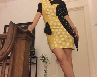 Yellow, green & black cotton polka dot patchwork dress