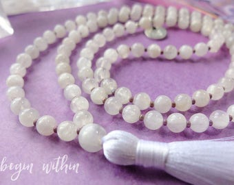 Moonstone Mala Beads | Moonstone Tassel Necklace | Moonstone Jewelry | Fertility Necklace | Fertility Jewelry