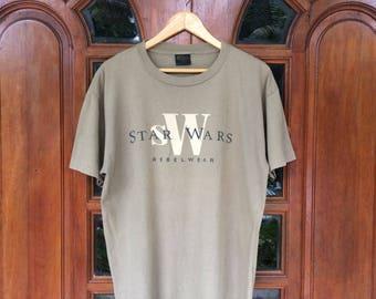 Rare!! Vintage STAR WARS rebelwear movie promo tee luke skywalker princess leia tee changes usa shirt/large size