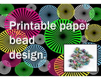 Printable beading sheet. Make your own paper beads. Neon circles. Paper bead sheet. Paper beading. Beading project. Paper bead pattern.